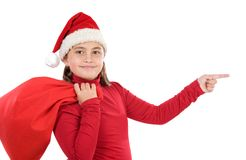 Beautiful girl with hat of christmas indicating Stock Photography