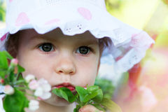 Beautiful girl in hat close up Royalty Free Stock Photography