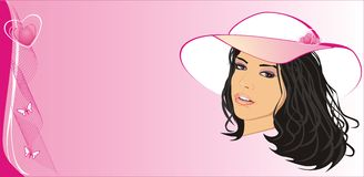 Beautiful girl with hat. Fashion card Stock Photography