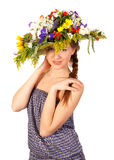 Beautiful girl with hat of flowers Stock Images