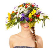 Beautiful girl with hat of flowers Stock Photo