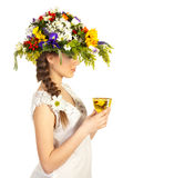 Beautiful girl in hat of flowers Royalty Free Stock Images
