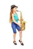 Beautiful girl with hat playing alto saxophone Stock Image