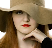 The beautiful girl in a hat Royalty Free Stock Images