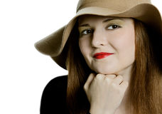 The beautiful girl in a hat Royalty Free Stock Photos