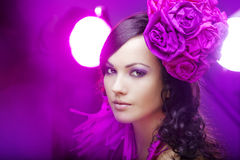 Beautiful girl in a hat with roses Royalty Free Stock Images