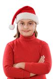 Beautiful girl with hat of Santa Claus Royalty Free Stock Photos