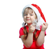 Beautiful girl in the hat of Santa Claus Royalty Free Stock Photos