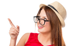 Beautiful girl in a hat shows his finger up Stock Image