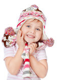 Beautiful girl in the hat on a white background Royalty Free Stock Photo