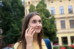 Beautiful girl have fun in the Moscow Stock Images