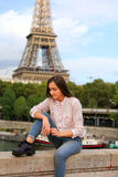 Beautiful girl have fun in Paris Royalty Free Stock Images