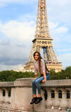 Beautiful girl have fun in Paris Stock Image