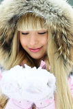 Beautiful Girl Having A Walk In Winter Park Royalty Free Stock Images