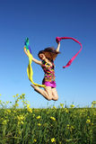 Beautiful girl having fun on the field Royalty Free Stock Photography