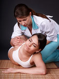Beautiful girl having thai massage. Royalty Free Stock Images