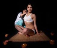 Beautiful  girl having thai massage. Stock Photo