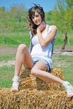 Beautiful girl on a hay bale Stock Photos