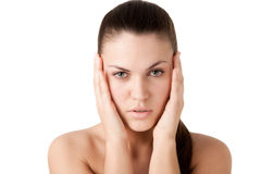 Beautiful girl with a headache Royalty Free Stock Photography