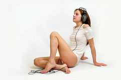 Beautiful girl with headphone Royalty Free Stock Images