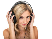 Beautiful girl in headphones Stock Photography