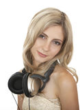 Beautiful girl with headphones. Stock Photo