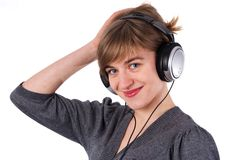 Beautiful girl with headphones Stock Image