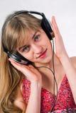 Beautiful girl with headphones Royalty Free Stock Photos