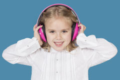 Beautiful girl with headphones smiling Royalty Free Stock Photography