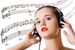 Beautiful girl with headphones Royalty Free Stock Photo