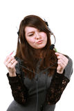 Beautiful girl with headset Royalty Free Stock Photography