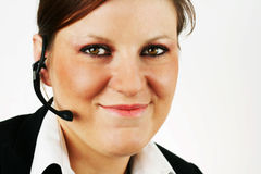 Beautiful girl with the headset royalty free stock photo