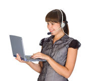 Beautiful girl in headset Royalty Free Stock Photos