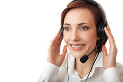 Beautiful girl with headset. Royalty Free Stock Image