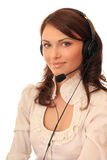 Beautiful girl in headsets Stock Photo