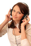 Beautiful girl in headsets Stock Image