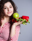Beautiful girl with healthy food Stock Images