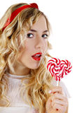 Beautiful girl with a heart candy Royalty Free Stock Photography