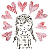 Cute teen girl with hearts. Beautiful girl with a heart Royalty Free Stock Images