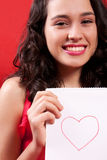Beautiful Girl With a Heart Drawing Royalty Free Stock Photo