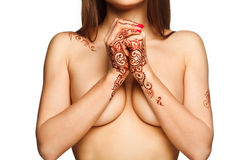 Beautiful girl with henna mehendi on back and wrists Stock Photos