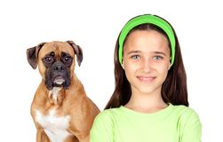 Beautiful girl and her dog Stock Images