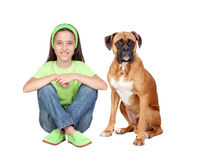 Beautiful girl and her dog Stock Image