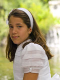 Beautiful girl in her first communion Royalty Free Stock Images