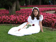 Beautiful girl in her first communion Royalty Free Stock Photography