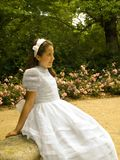 Beautiful girl in her first communion Royalty Free Stock Image