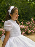 Beautiful girl in her first communion Royalty Free Stock Photos