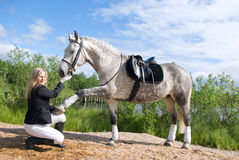Beautiful girl and her handsome horse. Royalty Free Stock Image