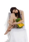 Beautiful girl with her plush toy Royalty Free Stock Image