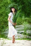 Beautiful girl with herbs Royalty Free Stock Image